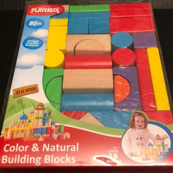 Nwt Playskool 80 Piece Wooden Building Blocks Nwt
